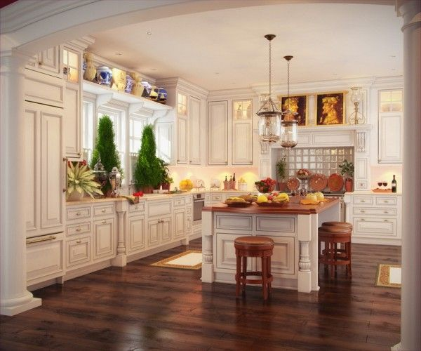 This kitchen is gorgeous!Dreams Kitchens, Kitchens Design, Kitchens Remodeling, Classic Kitchens, White Kitchens Cabinets, Wood Floors, Laundry Nook, French Country Kitchens, White Cabinets