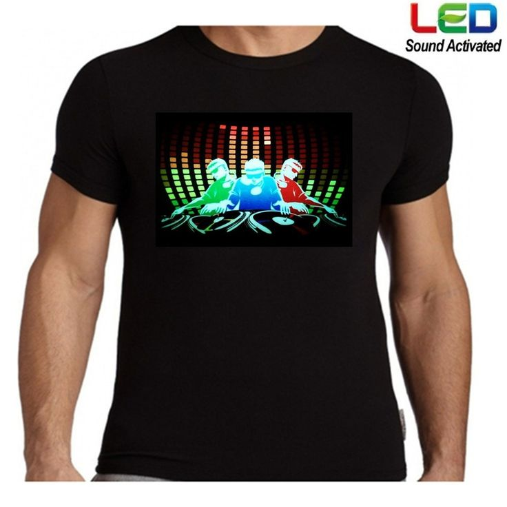 100% Cotton Battery Driver DJ Sound Activated Light Up Party Flashing Disco EL LED T-Shirt