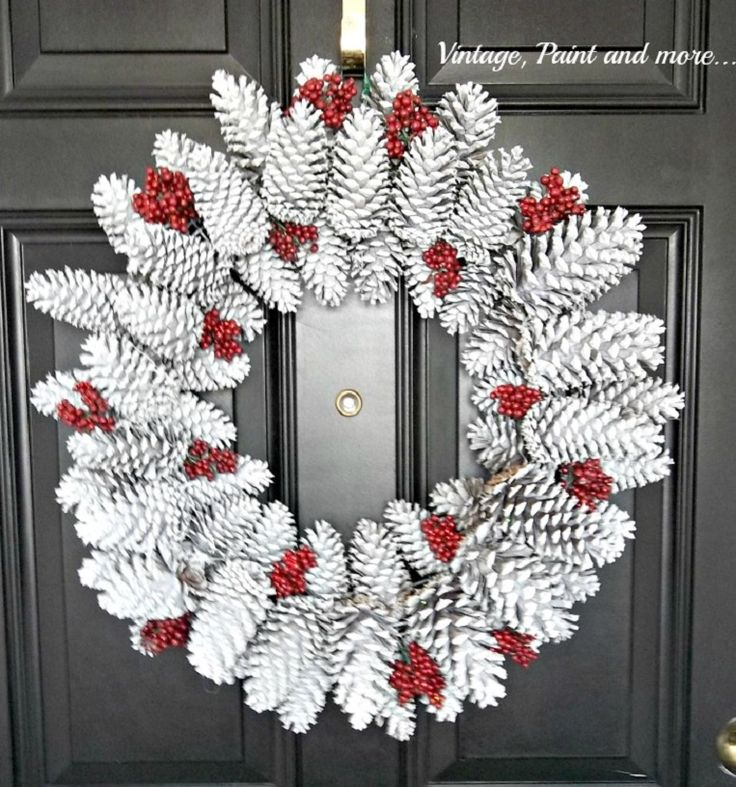 Pine Cone Wreath - 12 DIY Holiday Decorations You Can Leave Up All Winter | GleamItUp