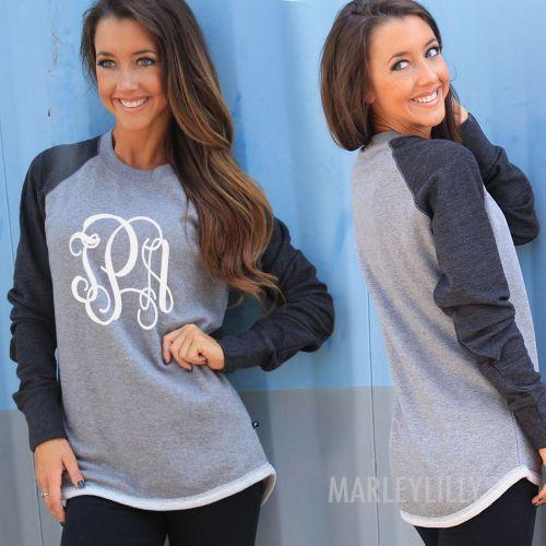 Monogrammed Raglan Sweatshirt Tunic
