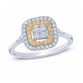 3/8 Ct Yellow And White Diamond Double Frame Engagement Ring In 10K White Gold # Free Stud Earring by JewelryHub on Opensky