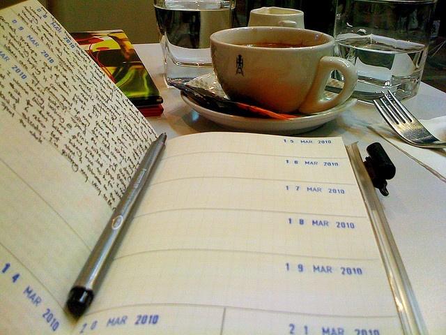 Midori Traveler's Notebook.  Love the date stamp idea.