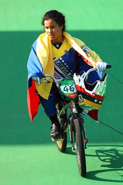Mariana Pajon of Colombia celebrates after winning the gold during the Women's…
