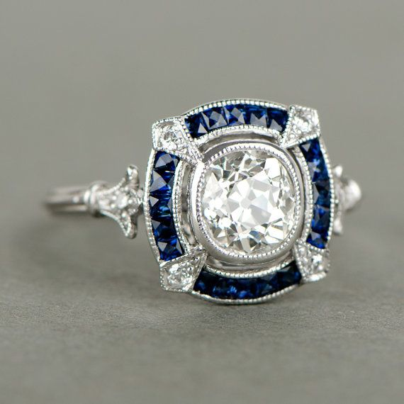 Antique Cushion Cut Diamond and Sapphire Halo Platinum Engagement Ring