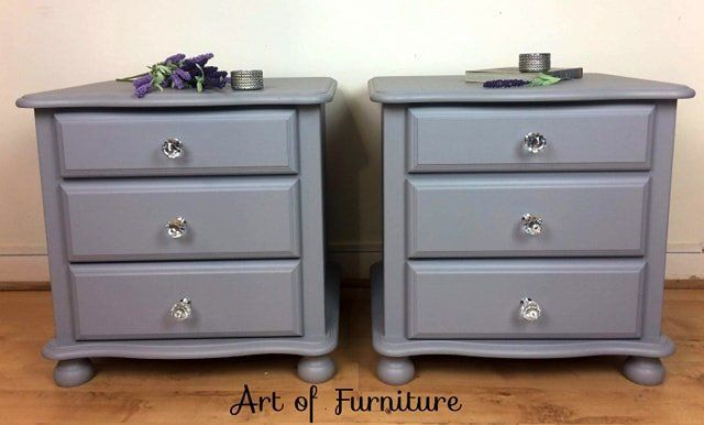 A Pair Of Vintage Pine Bedside Tables Cabinets Side Tables Bedside Unit Hand Painted Grey Fusion Minera Painted Night Stands Pine Bedside Table Pine Bedside