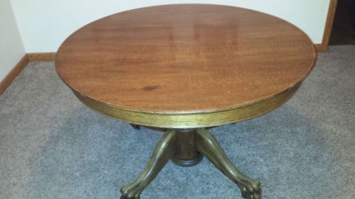 Antique Quartersawn Tiger Oak 44 Inch Round Table Carved Pedestal Claw Foot Tables