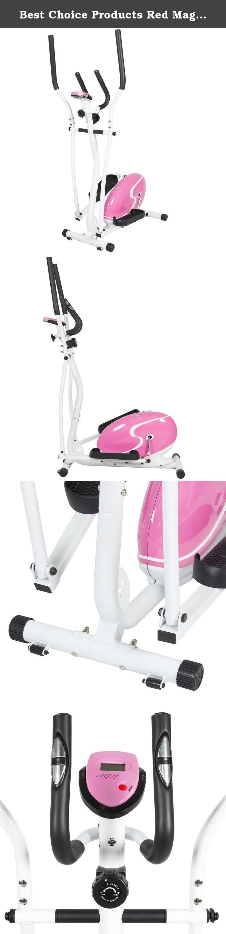 Best Choice Products Red Magnetic Elliptical Trainer Fitness Space Saver Machine Cardio Workout Gym. Best Choice Products is proud to present this brand new Pink Magnetic Elliptical Trainer. This indoor elliptical trainer has an 8-level magnetic tension controller that can help tone your upper and lower body with its low-impact workout design. It features large non-slip platforms for your feet as you work out and exercise. Constructed with a steel frame, it can support up to 220 lbs....