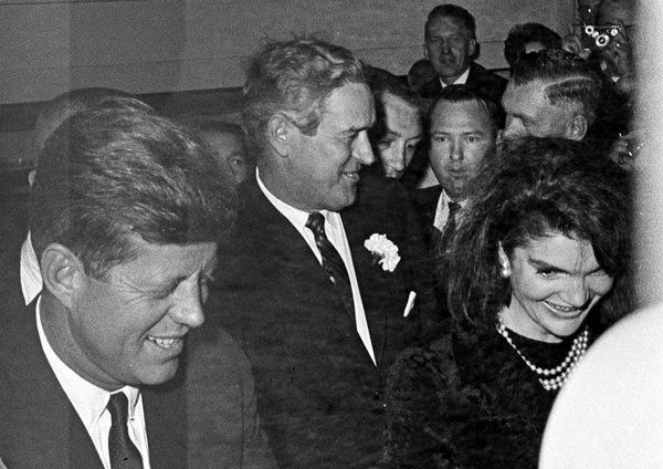 The president and first lady, accompanied by Texas governor John Connally, arriving at the Hotel Texas, Fort Worth, November 21, 1963