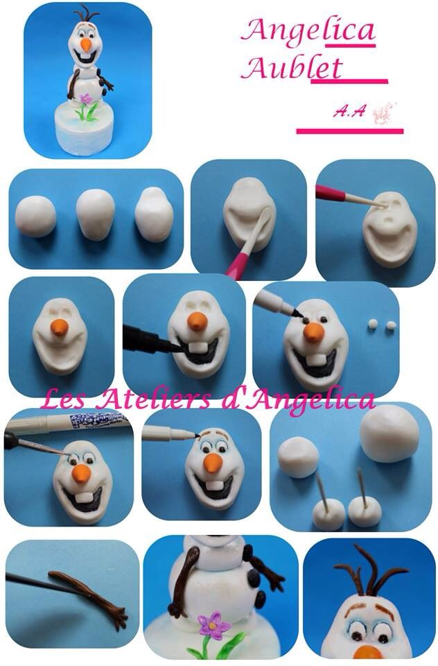 Olaf from Disney (FROZEN) Gumpaste Cake topper Tutorial by: Angelica Aublet (Les Atelier d Angelica): Olaf Cakes, Cakes Ideas, Cakes Toppers Tutorials, Fondant Olaf, Cakes Decor, Olaf Tutorials, Olaf Frozen, Frozen Cakes, Disney Frozen