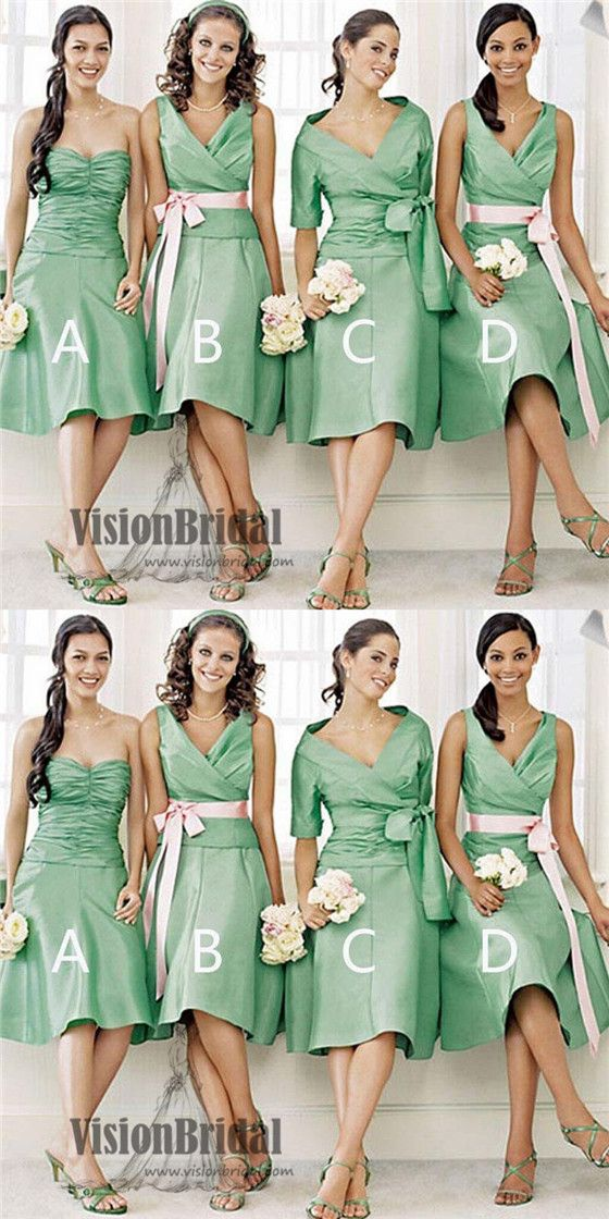 516da0e3073 Unique Green Mismatched Different Styles Satin Short Bridesmaid Dresses  With Ribbon