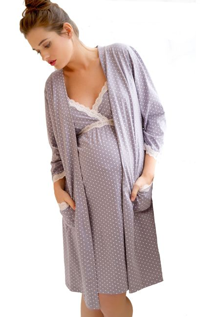 Belabumbum Dottie Lace Trim Maternity And Nursing Robe | Maternity Clothes  www.duematernity.com