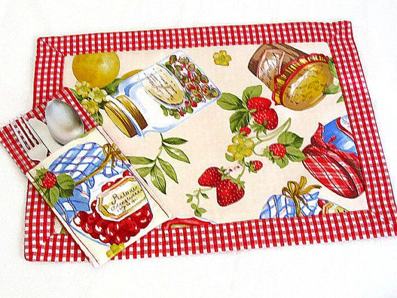 Fruit Framed Placemat Set Of 4 Set Of 2 U2013 Provencal Padded Reversible  Fabric Tablecloth Mat U2013 Shabby Chic Kitchen Summer Spring Table Mat