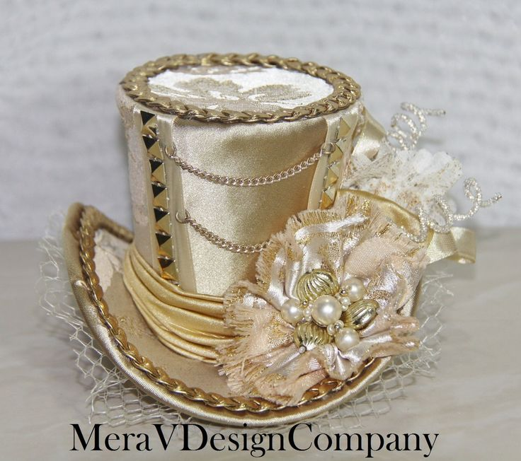 Gold Cream Brocade Mini Top Hat Steampunk Victorian Edwardian Vintage Bride Style Chains Corset Vintage Brooch Lace Net Studs #MiniTopHat #BridesHat