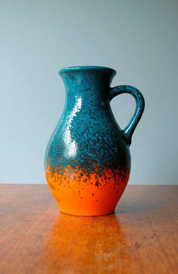 Vintage Übelacker West German Handled Vase  Orange and by luola