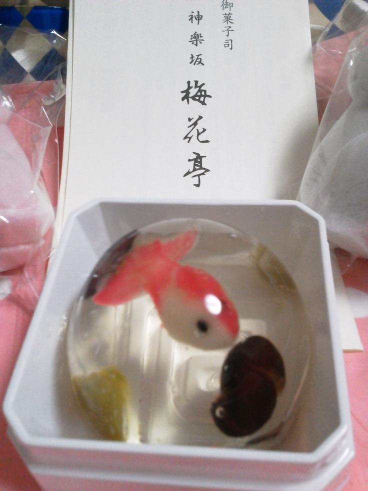 Japanese sweet: goldfish-like dessert in jelly