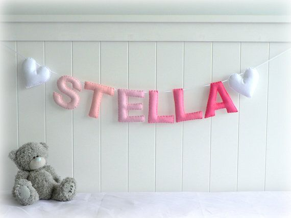 Personalized felt name banner wall art nursery decor - nursery decor - ombré - MADE TO ORDER