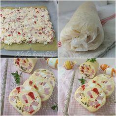 Hozzávalók : 9 vékony szelet sajt, 10 dkg vaj, 10 dkg sajtkrém, 10 dkg sonka, 2 főtt tojás, 2 csemegeuborka, 1 savanyított paradics...