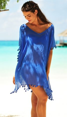 Seafolly Amnesia Kaftan Beach Cover-Up in Indigo Blue