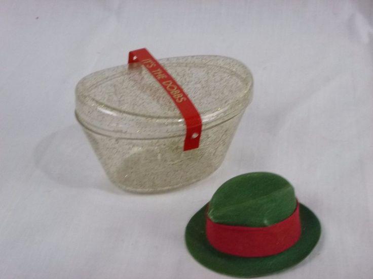 Vtg Miniature Dobbs Hat Acrylic Glitter Hat Box Salesmans Sample #Dobbs