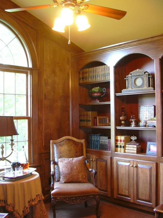 Wood Home Interior Wrapped with Stone Facade : Traditional Home Office Design Upholstered Chair Walnut Grove