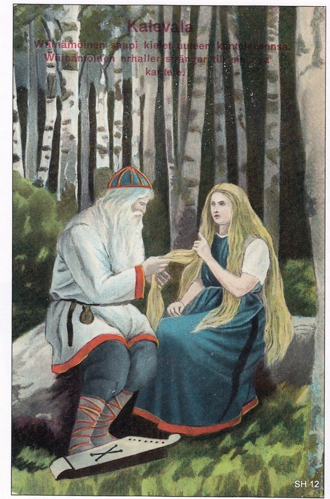 The Life and Art of Sigfried August Keinänen -  Illustrations from the Kalevala – Väinämöinen's new kantele. This card is drawn in at least two versions