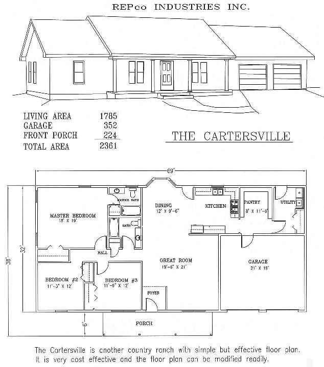 The Cartersville; Residential Steel House Plans Manufactured Homes Floor Plans Prefab Metal Plans