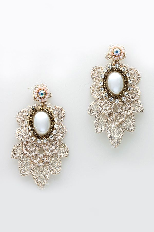 Embroidered Anna Earrings on Emma Stine Limited