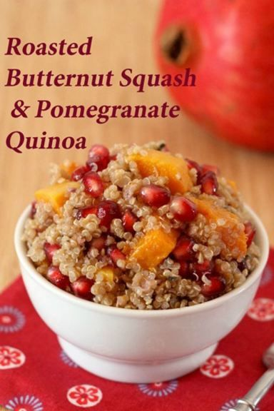 Roasted Butternut Squash & Pomegranate Quinoa - a healthy, colorful, and flavorful side dish or meatless main dish | cupcakesandkalechips.com | gluten free, vegetarian, vegan