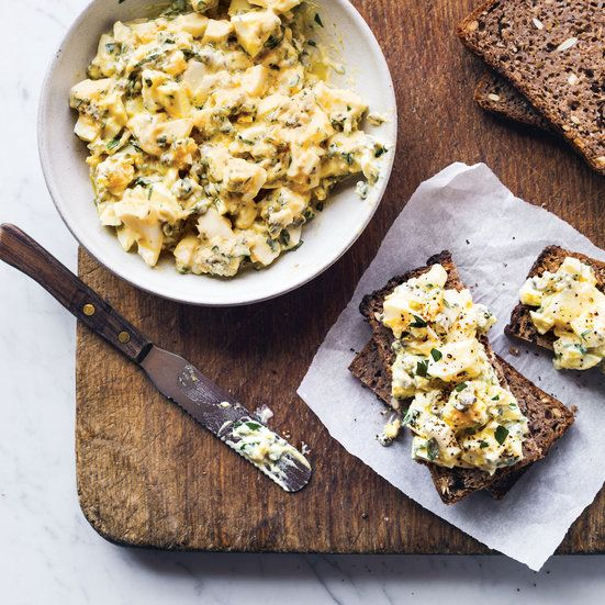 This best-ever egg salad gets amazing flavor from tangy Greek yogurt as well as capers, cornichons and herbs. Get the recipe at Food & Wine.