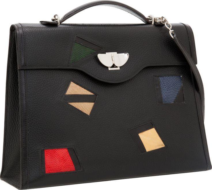 Hermes Multicolor Lizard \u0026amp; Black Ardennes Leather Kelly Nuages Bag ...