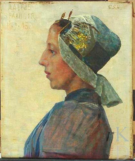 George Sherwood Hunter Portret van Aaltje Kout (Warder 1856 - Amsterdam 1921), 1893; hotelhoudster Hotel Spaander te Volendam Enkhuizen, Zuiderzeemuseum #NoordHolland #WestFriesland