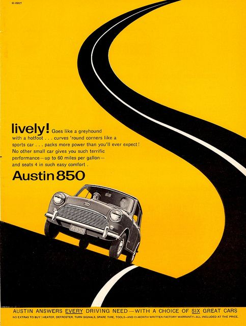 1961 Austin 850 advert. Excellent use of negative space and asymmetrical linear design.