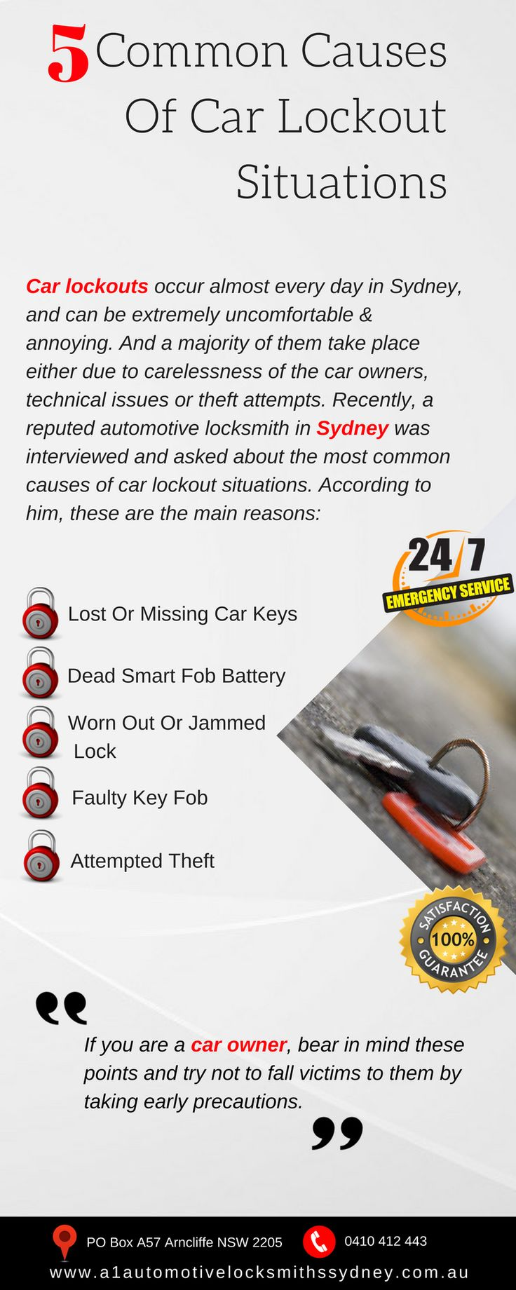Car owners who have been in lockout situations before would know how troublesome it can be. Here we going to enumerate the top causes for common car lockout scenarios. #lostcarkey #locksmith #automotivelocksmith #mobileautomotive #sydney