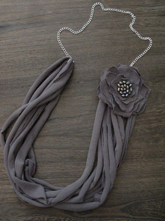 t shirt necklace - I wonder if I could get away with doing this to my husbands t-shirt collection?