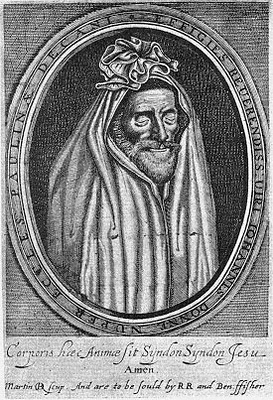 John Donne in funeral shroud, 1633.