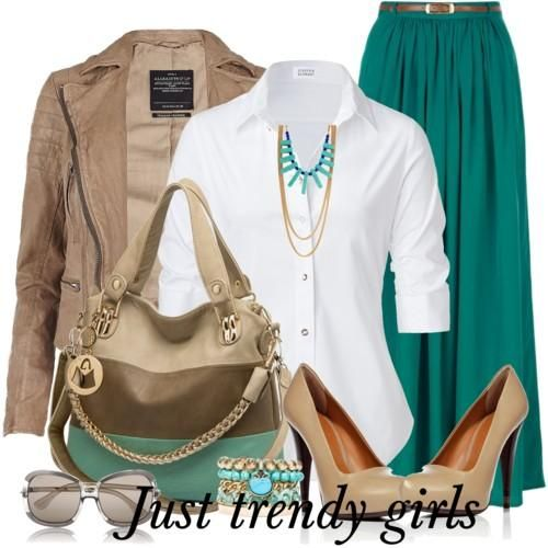 maxi skirt with jacket  Summer maxi skirts for woman http://www.justtrendygirls.com/summer-maxi-skirts-for-woman/