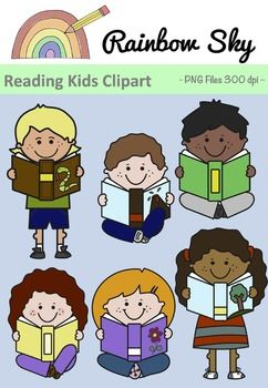 Free Download! Reading kids clipart. Included in the set are 3 boys and 3 girls as shown on the cover page. Included also are the black line originals. All graphics are .PNG files at 300 dpi for clear, crisp printing with transparent backgrounds. ~ Rainbow Sky Creations ~