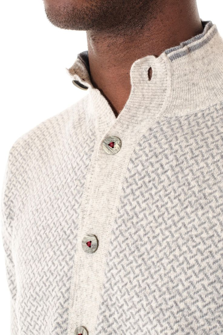 Beige and gray cardigan with buttons H953 F/W 16-17 for men - Rione Fontana