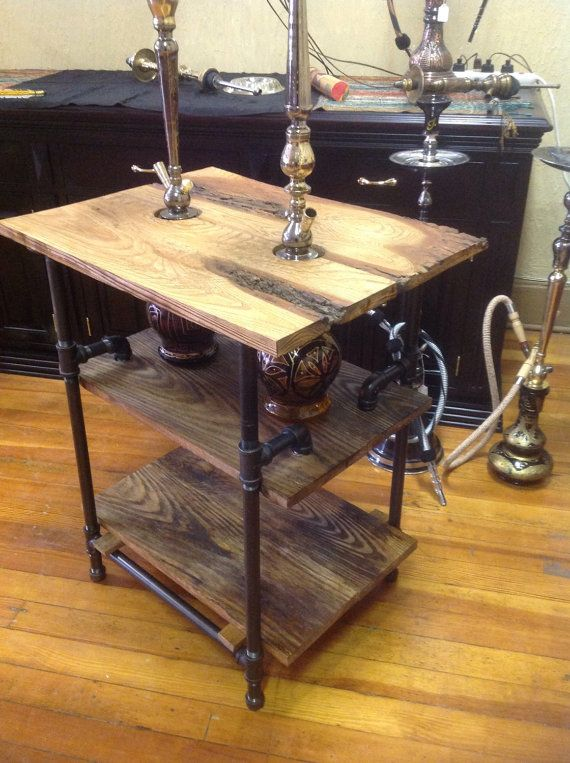Handcrafted double hookah table. Solid wood with black pipe.