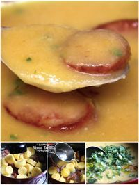 SOPA DE MANDIOQUINHA COM CALABRESA, uma sopa creme,  encorpada ao mesmo tempo delicada, super cremosa e saborosa a base de mandioquinhas, também conhecida como batata baroa,  com tenras fatias de calabresa defumada e croûtons crocantes para dar textura e sabor.  … hummm … slurp … slurp … é de se lamber!