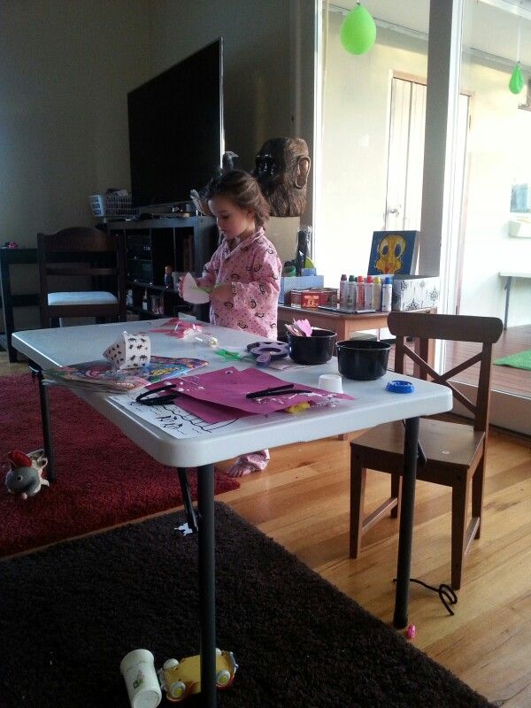 # crafttable #kidstrestletable  This is the perfect size craft table or party table for kids  It has removable and expendable legs  I searched everywhere and found these at #officeworks for 45 buck's!  Masadamum.blogspot.com