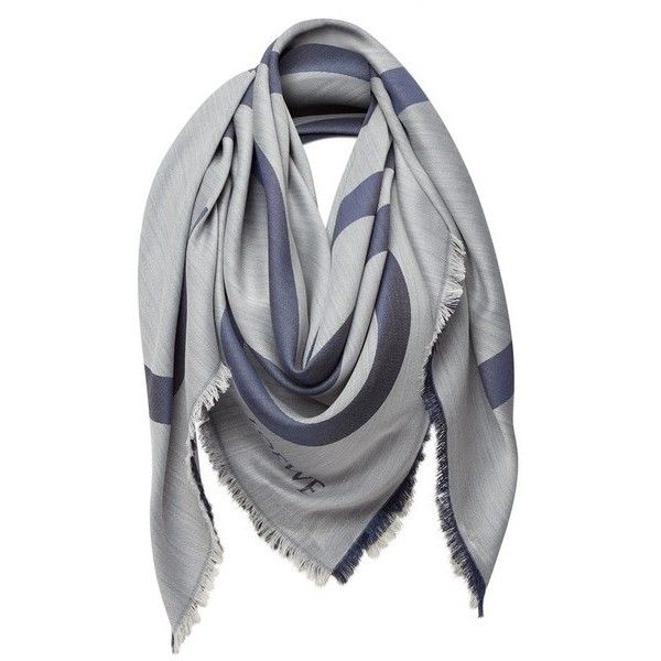 LOEWE 140X140 Shawl Anagram Navy Blue/Grey ($650) ❤ liked on Polyvore featuring accessories, scarves, navy, grey shawl, gray shawl, navy scarves, navy blue scarves and shawl scarves