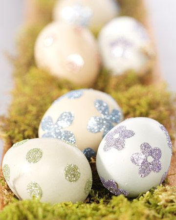 Glittered Sticker Eggs; easy way to add a little pop to your eggs without going crazy.
