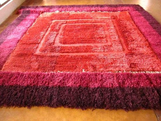 Vintage tufted carpet redyed