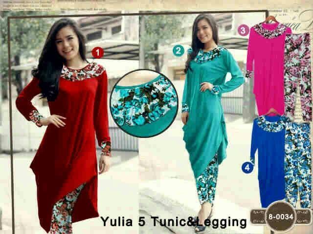 Yulia 5 Tunic Set Atasan rayon spandeks Plus celana spandeks korea All size fit to L Seri isi 4 @ Rp. 105.000,- Satuan Rp. 125.000,-