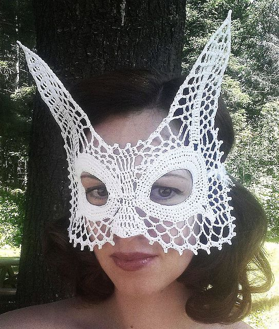 Ravelry: Lace Rabbit Masquerade Mask pattern by Farrah for 365 Crochet