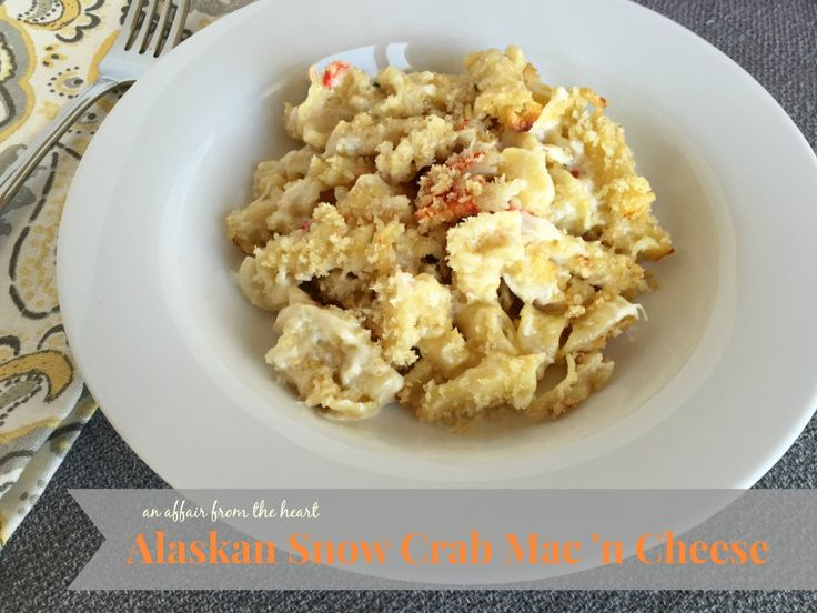 Rich and decadent snow crab mac 'n cheese made with both Gruyere and Havarti Cheeses.
