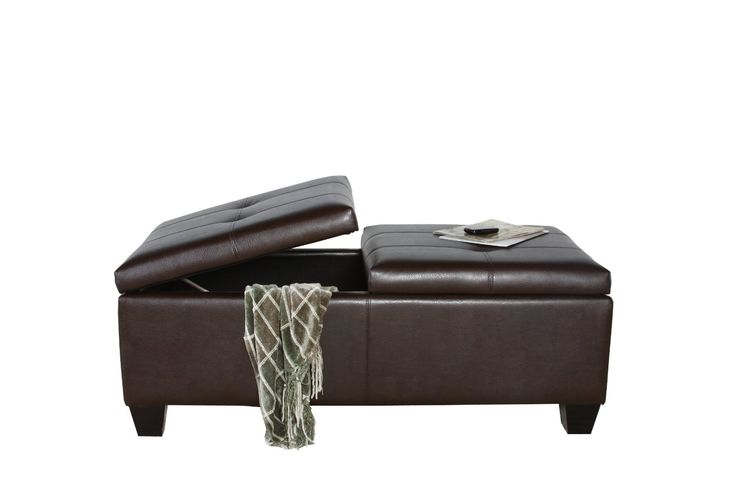 Amazon.com: Best Selling Alfred Brown Leather Storage Ottoman: Kitchen & Dining