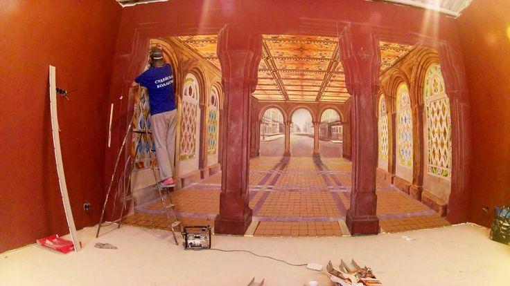 роспись стен аэрография процесс и результат перспектива комнаты