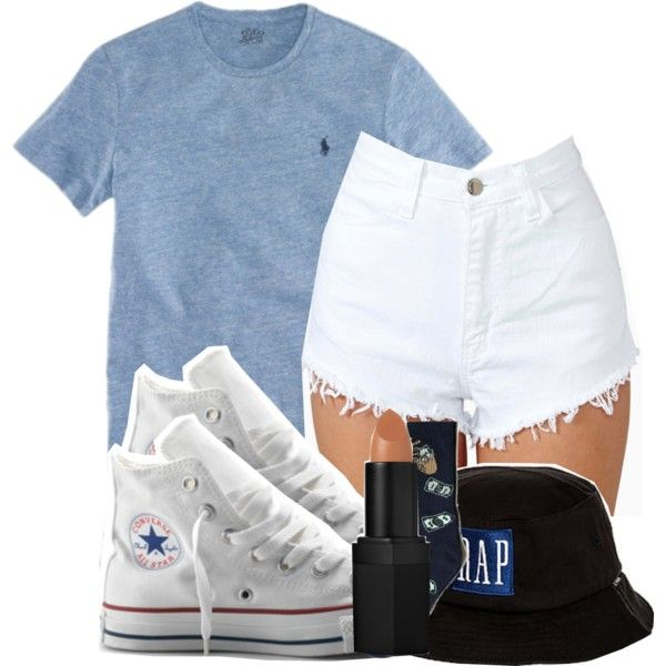 Blue polo white shorts with white converse=want and need